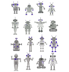 Large black and white set of toy robots or aliens vector