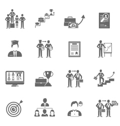 Career icons black set vector