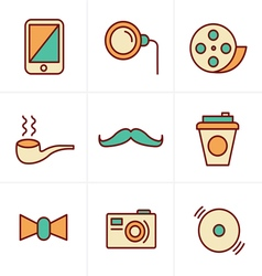 Icons style hipster retro vintage elements modern vector
