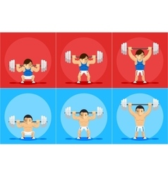 Weightlifting animation frames vector