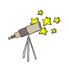 Comic cartoon telescope vector