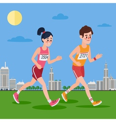City marathon runners man and woman running vector