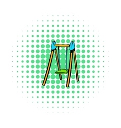 Playground swing icon comics style vector