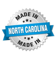 Made in north carolina silver badge with blue vector