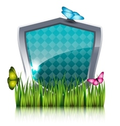 Shield with flying butterflies by the grass vector