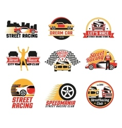 Street racing logo emblems icons set vector