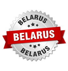 Belarus round silver badge with red ribbon vector