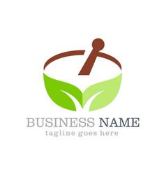 alternative medicine leaf organic logo vector image