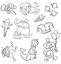 Animal and clown circus doodles vector