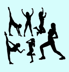 attractive action girls silhouette vector image vector image
