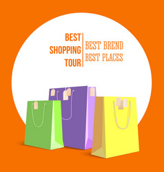 Best shopping tour advertising banner with paper vector