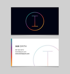 business-card-letter-i vector image vector image
