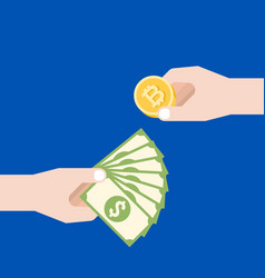 Business man hand with dollars bank exchange money vector