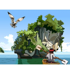 Cartoon landscape fisherman on a boat sailing near vector
