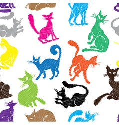 Cat seamless pattern background sketch collection vector image vector image