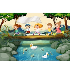 Children hiking in the woods vector