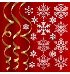 christmas set of snowflakes vector image vector image