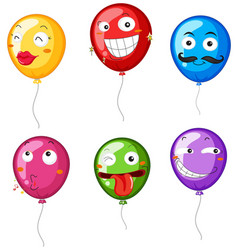 colorful balloons with facial expressions vector image vector image