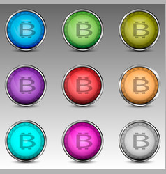 colorful circles with bitcoin symbol vector image