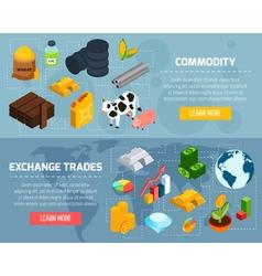 Commodity horizontal banners set vector