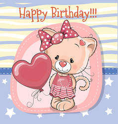 cute cartoon kitten with balloon vector image vector image