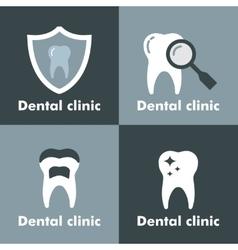 Dental clinic logo on gray background vector
