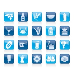 Different king of food and drinks icons 3 vector image vector image
