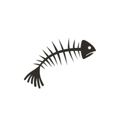 Fish bones icon flat style vector image vector image