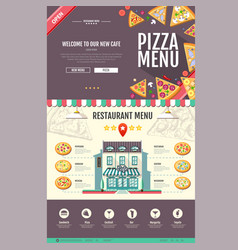 Flat style pizzeria cafe design web site design vector