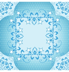 Floral frame in blue vector