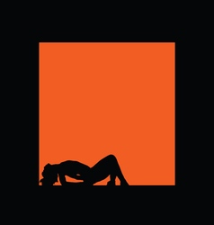 girl silhouette figure in orange frame vector image