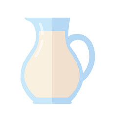 Glass jug with milk isolated on white background vector
