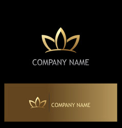 gold lotus flower beauty logo vector image vector image