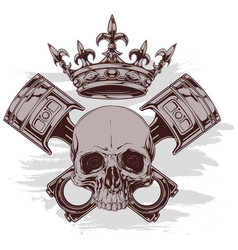 Graphic human skull with crown and crossed pistons vector