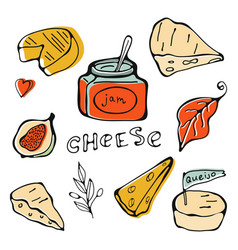 hand drawn cheese collection vector image vector image