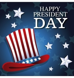 Happy president day top hat patriotic star vector