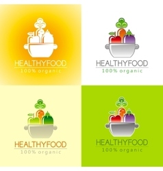 Healthy organic food logo icon set with fresh vector image vector image