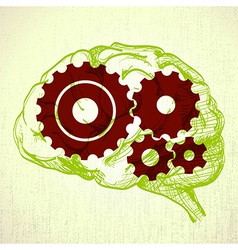 human brain with cogs vector image vector image