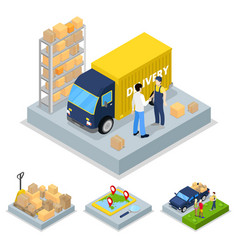 isometric delivery concept with truck courier vector image vector image