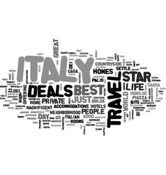 Italy travel deals text background word cloud vector