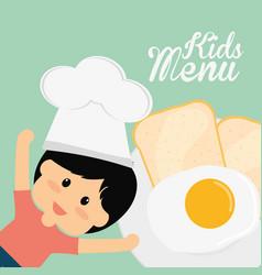 Kids menu chef boy fried egg bread vector