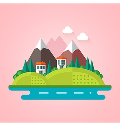 Landscape flat icon vector image vector image