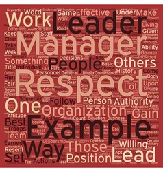 Leadership be an example text background wordcloud vector