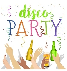 Many hands raised up with disco party text vector