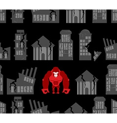 Monkey destroyer in town Angry Gorilla broke homes vector image