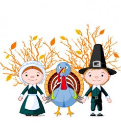 pilgrims and turkey vector image vector image