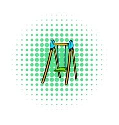 Playground swing icon comics style vector image