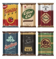 Retro food cans collection vector image vector image