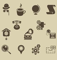 Retro icons set vector image