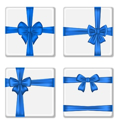 Set gift boxes with blue bows vector image vector image